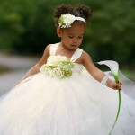 Ivory and Green Flower Girl Dress