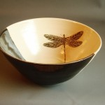Handthrown Ceramic Bowl with Dragonfly