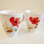 Handthrown Ceramic Mug with Red Poppy