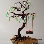 Spring Willow Copper Wire Tree Sculpture with Swing